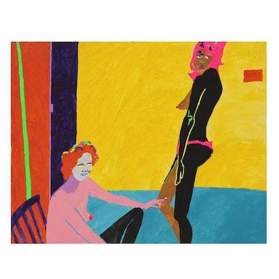"""Robert W. Hasselhoff Abstract Mixed Media Painting """"Chorus Girls"""", 1973"""