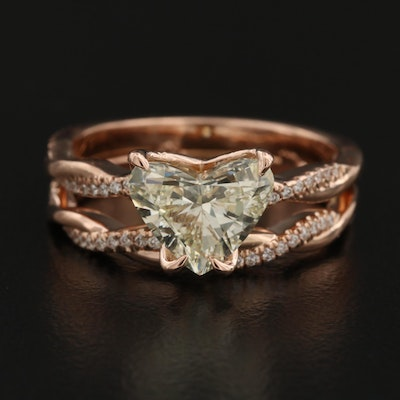 14K Rose Gold 2.41 CTW Heart Brilliant Diamond Ring with Crossover Shoulders