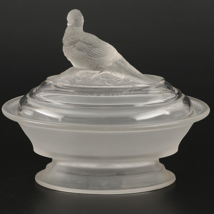 Imperial Frosted Glass Lidded Candy Dish, Mid-20th Century
