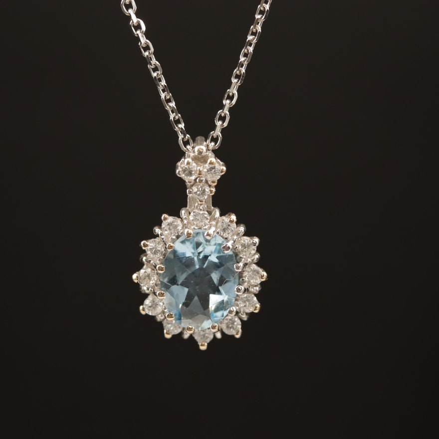 18K Aquamarine and Diamond Pendant with 14K Cable Chain Necklace