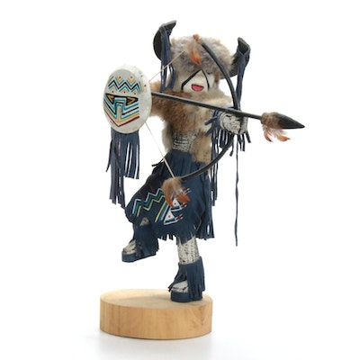 "Fran Yazzie Zuni Native American Kachina Sculpture ""Buffalo Warrior"""