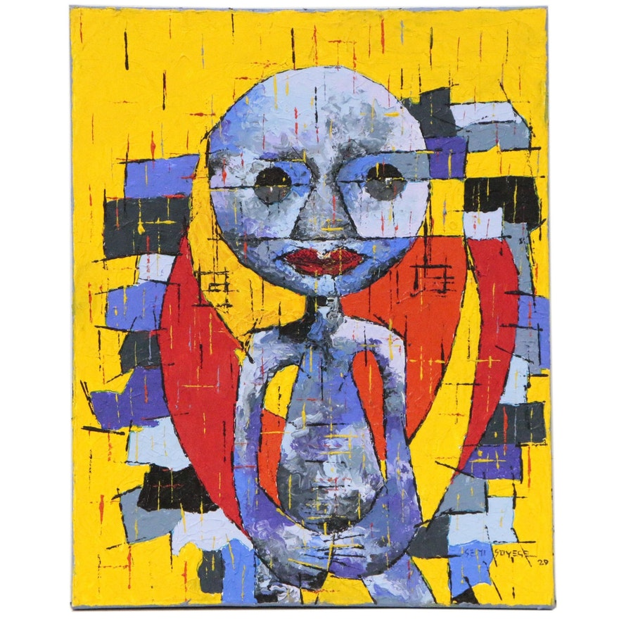 "Oluseyi Soyege Acrylic Painting of Abstract Figure ""No More"", 2020"