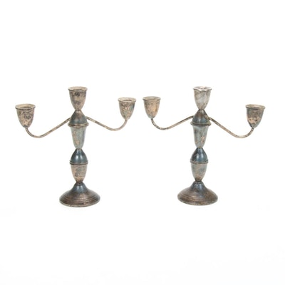 Pair of Duchin Sterling Silver Convertible Candelabras, Mid-20th Century