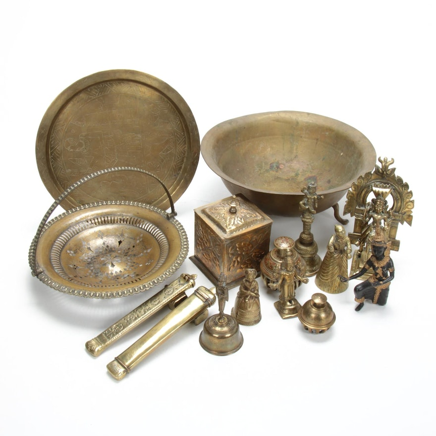 Persian Qalamdans and Other Brass Decorative Objects