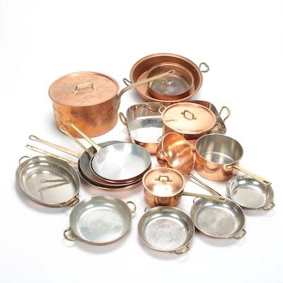 Copper Cookware Assortment Including Bazar Français