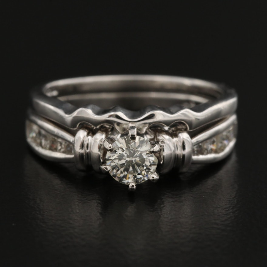 Platinum Diamond Ring and Shadow Band