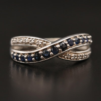 Sterling Sapphire and Diamond Crossover Ring