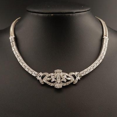 Vintage Platinum Palladium Alloy 3.49 CTW Diamond Collar with 14K Chain