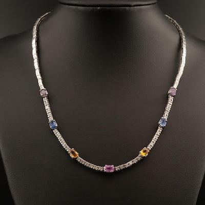 14K Multi-Color Sapphire and 1.48 CTW Diamond Necklace