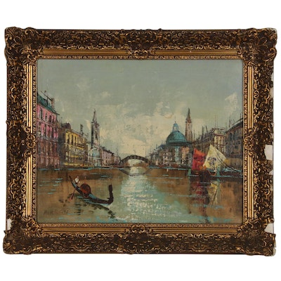 Venetian Canal with Gondola Oil Painting, Late 20th Century