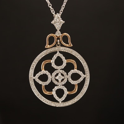 18K 1.55 CTW Diamond Geometric Lotus Station Necklace with Rose Gold Accents