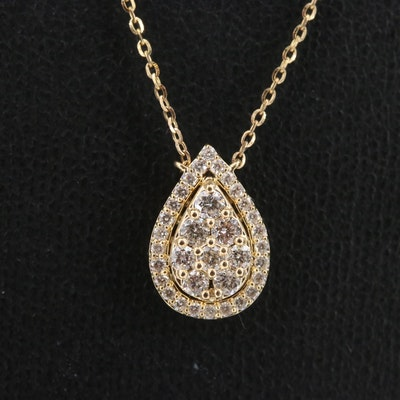 14K Diamond Station Necklace with Pear Shaped Center