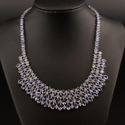 18K 56.00 CTW Tanzanite and 2.05 CTW Diamond Necklace