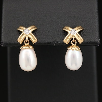14K Pearl and Diamond Drop Earrings