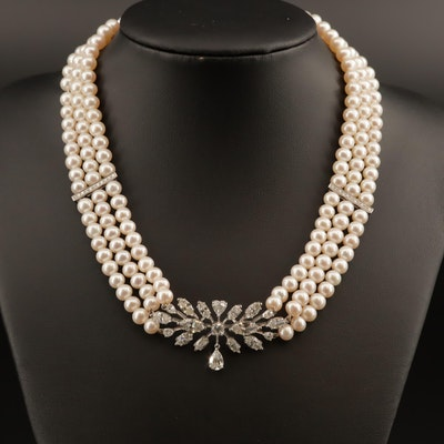 18K Triple Strand Pearl and 7.50 CTW Diamond Choker Necklace