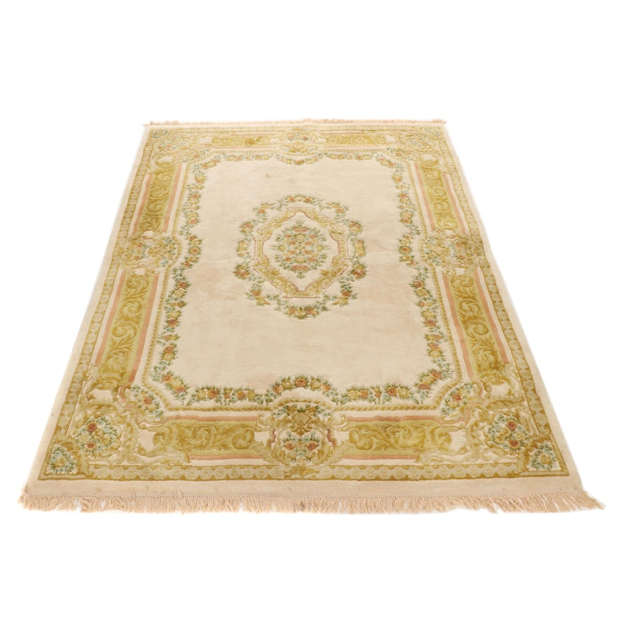 7'9 x 10'4 Hand-Knotted Indo-Chinese French Savonnerie Rug, Mid-20th Century
