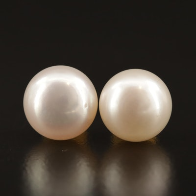 14K Button Pearl Stud Earrings