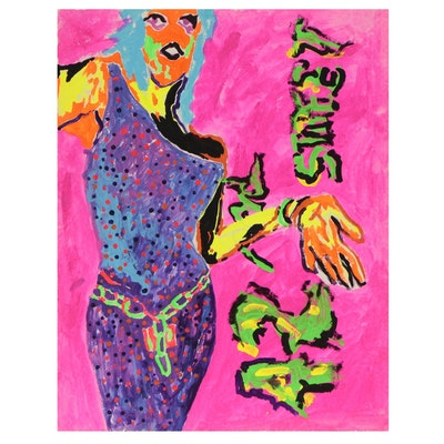 Robert W. Hasselhoff Abstract Figural Mixed Media Painting