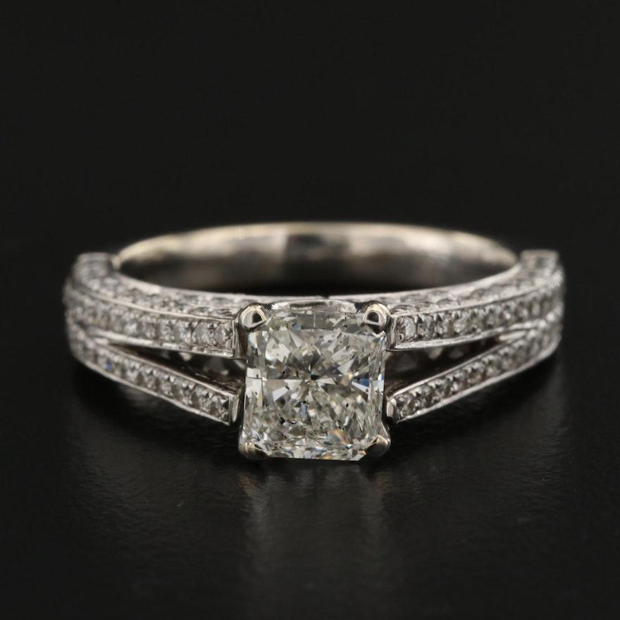 18K Split Shank 1.82CTW Diamond Ring with 1.22 CT Center