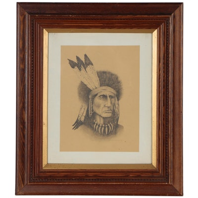 L.E. Johnson Graphite Drawing of Native American Portrait, 1983
