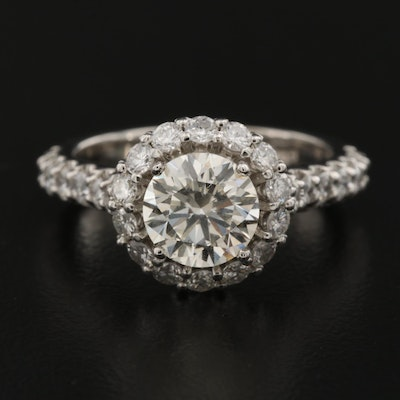 14K 2.60 CTW Diamond Ring with Halo