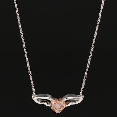 Sterling Silver Diamond Winged Heart Necklace