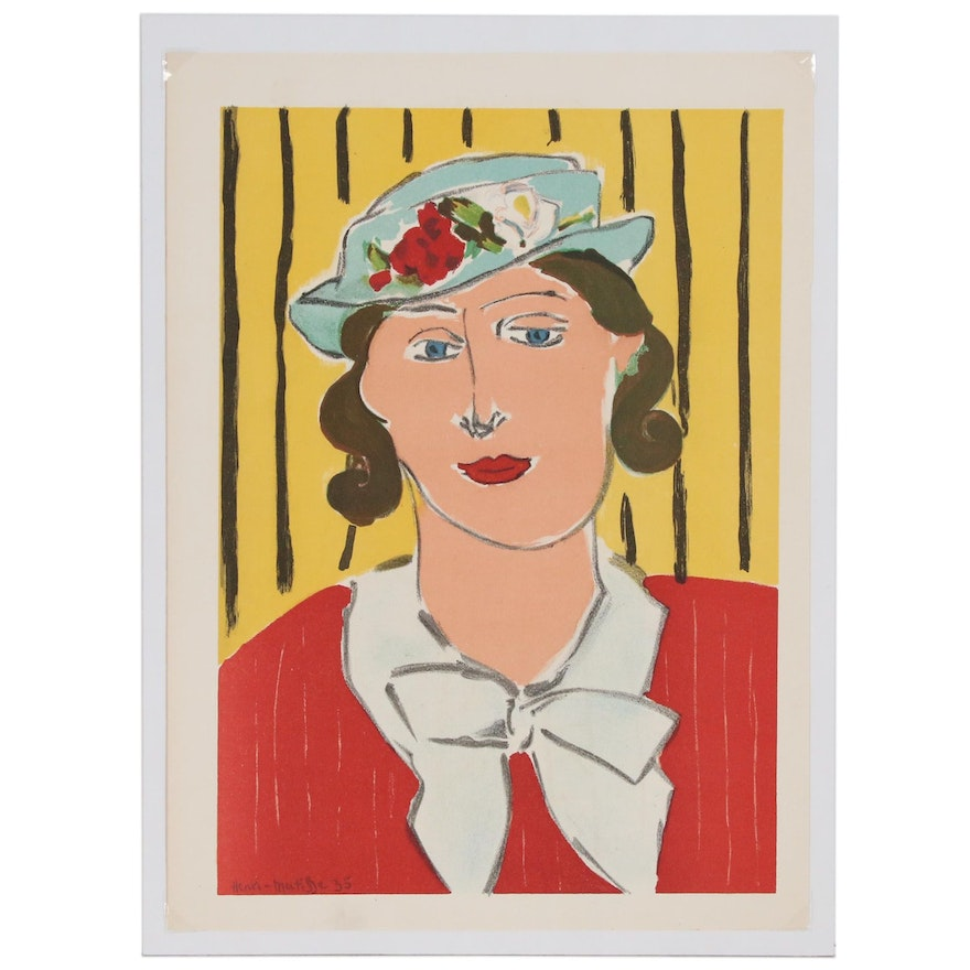 """Henri Matisse Lithograph """"Head"""" from """"Verve"""""""