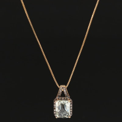Sterling Silver Prasiolite Necklace with Diamond Accents