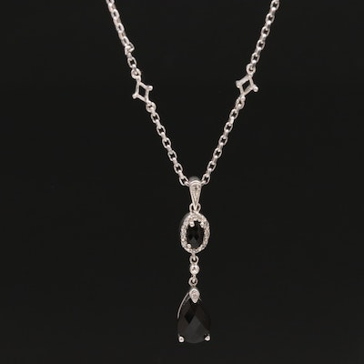 Sterling Silver Cubic Zirconia and Diamond Drop Pendant Necklace