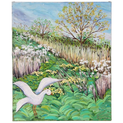 Landscape with White Bird Oil Painting In the Manner of Jane Peterson