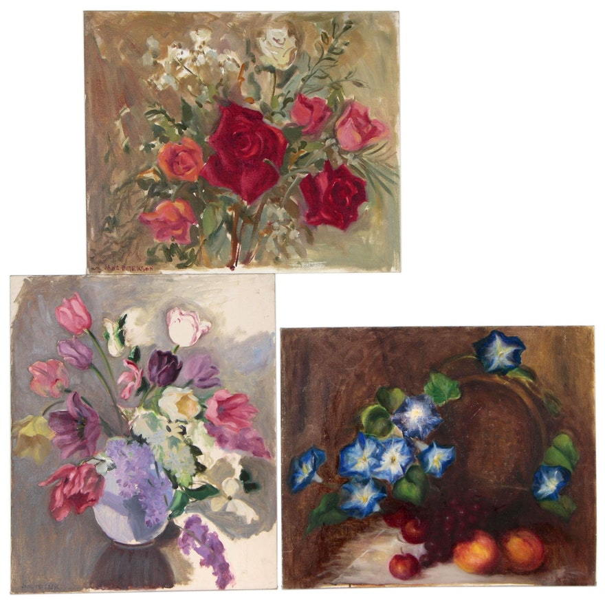 Floral Still Life Oil Paintings in the Style of Jane Peterson