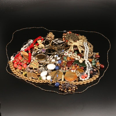 Assorted Jewelry with Pins, Anklets, Tie Clips, Scarf Clip, Barrets and More