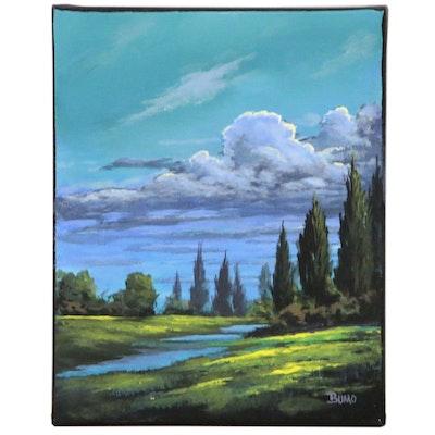 """Douglas """"Bumo"""" Johnpeer Landscape Oil Painting """"Passing Storm"""", 2020"""