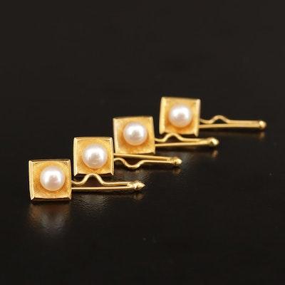 Vintage 14K Pearl Shirt Studs with Florentine Finish
