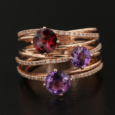 EFFY 14K Rose Gold Garnet, Amethyst and Diamond Ring