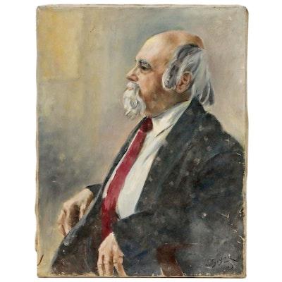 Portrait Oil Painting of Man in Suit, 1969