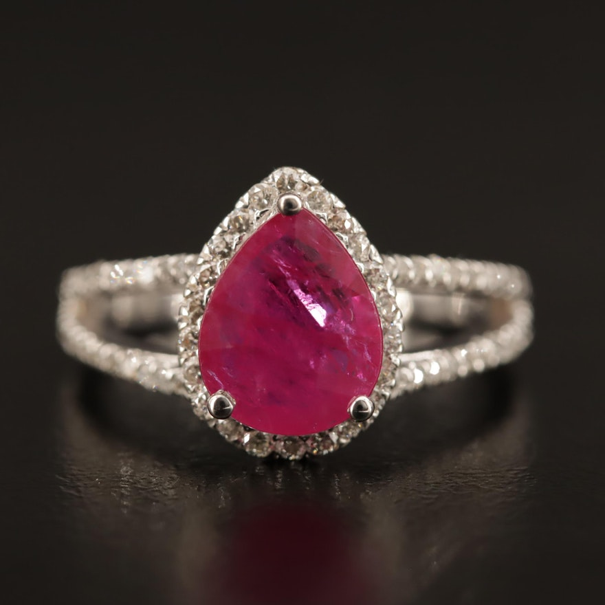 14K Ruby and Diamond Halo Ring