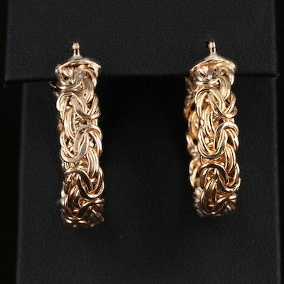 14K Flat Byzantine Hoop Earrings