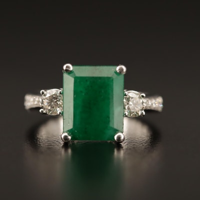 14K 4.20 CT Emerald and Diamond Ring