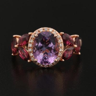 EFFY 14K Rose Gold Amethyst, Garnet and Diamond Ring