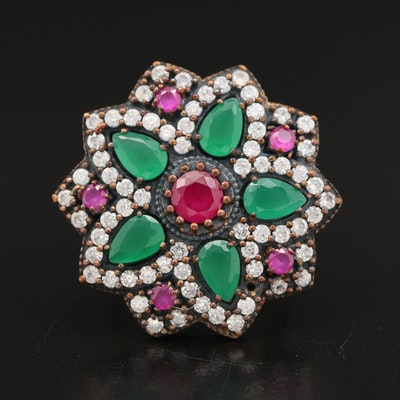 Sterling Chalcedony, Ruby and Cubic Zirconia Star Motif Ring