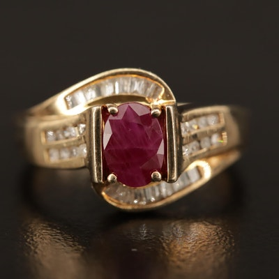 Sterling Silver Ruby and Diamond Ring