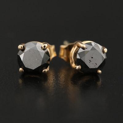 14K 1.70 CTW Black Diamond Stud Earrings