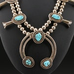Western Sterling Turquoise Squash Blossom Necklace