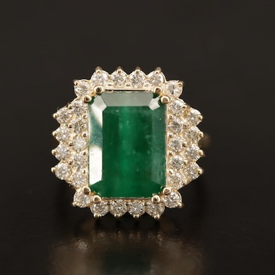 14K 5.50 CT Emerald and 1.25 CTW Diamond Ring