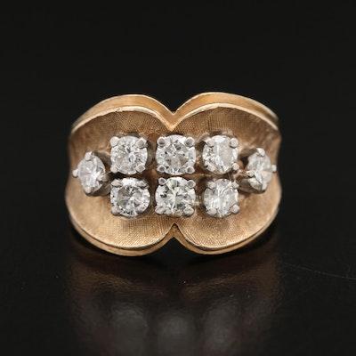 14K 1.20 CTW Diamond Ring with Florentine Finish and Palladium Accents