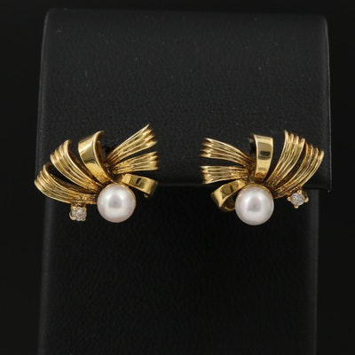 14K Pearl and Diamond Ribbon Motif Earrings