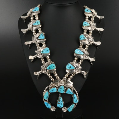 Wayne Etsitty Navajo Diné Sterling Turquoise Squash Blossom Necklace