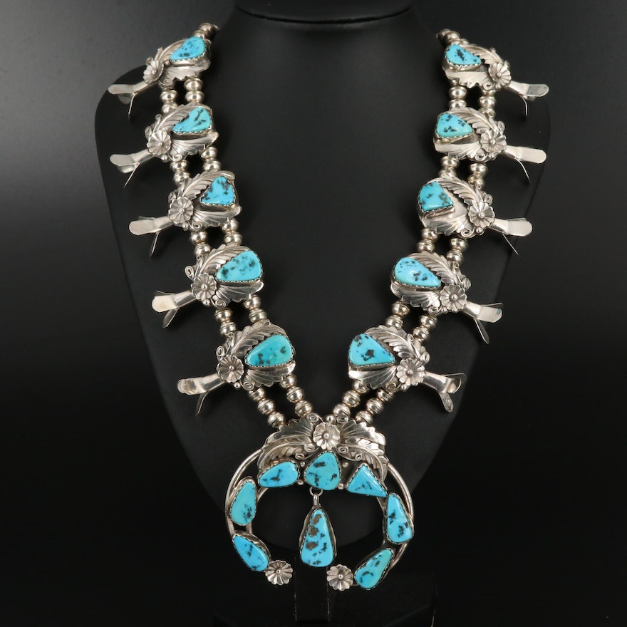 Wayne Etsitty Navajo Diné Sterling Turquoise Squash Blossom Necklace
