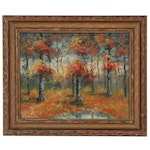 Impressionist Style Gouache Painting of Autumn Forest, 20th Century